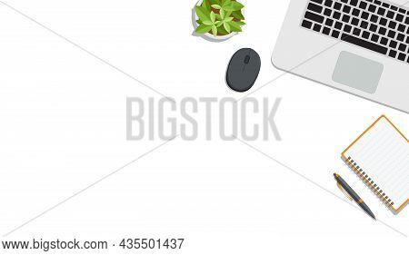 Bright Minimalist Workspace / Work Desk With Blank Open Notebook, Stationery And A Flower On White B