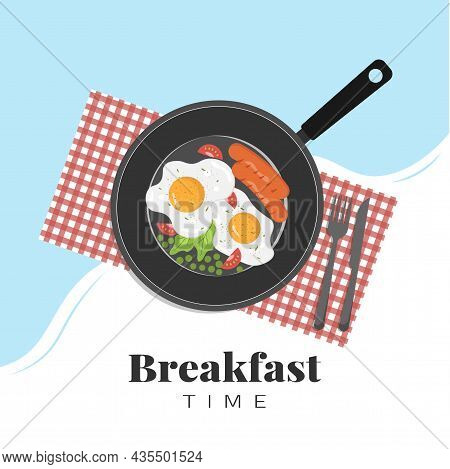 Breakfast In A Skillet With Egg, Salad, Tomatoes, Green Peas And Sausages. Vector Illustration For B