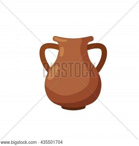 Clay Pot. Copper Jug. Brown Antique Tableware With Handles. Flat Design