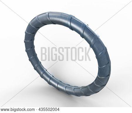 3D Illustration Of Circle Reinforcements Steel Tmt Bar Close Up. Isolated 3D Render