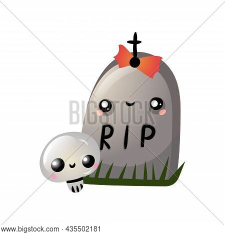 Autumn Halloween Kawaii Vector Design With A Cute Tombstone With Skull. Illustration For Kids, Celeb