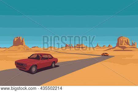 Hot Summer Landscape With Deserted Valley, Mountains, Road And Passing Cars. Western Scenic Illustra