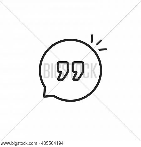 Quote Icon Like Linear Comment Bubble. Flat Stroke Trend Modern Textbox Logotype Graphic Art Design