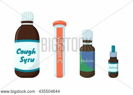Healthcare Medications In Different Forms Set Vector Illustration. Bottle With Pills, Plastic Tubes