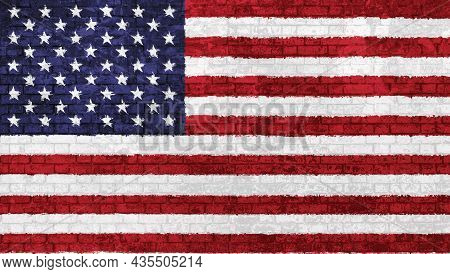 Old Wall Of Bricks Painted With The National Flag Of The United States Of America, Isolated Illustra
