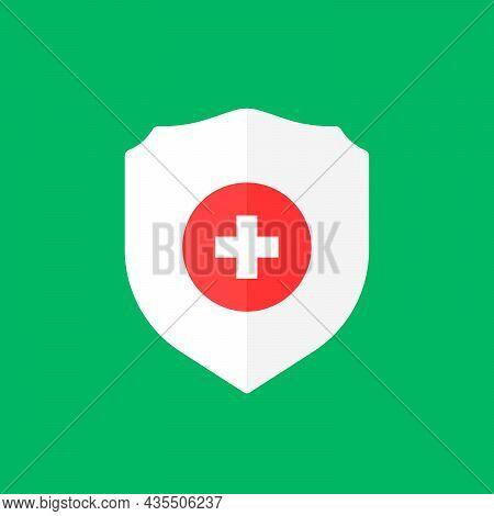 White Shield Icon Like Health Protection. Simple Flat Cartoon Trend Modern Logotype Graphic Design E
