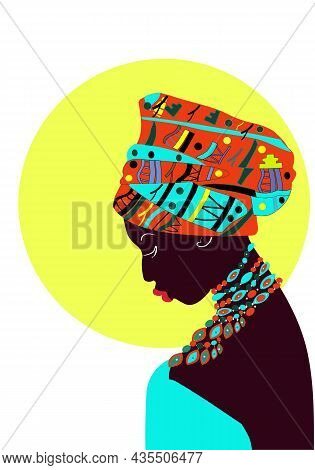 Beautiful Girl In A Sky Blue Dress With Dark Skin With A Turban On Her Head Illustration. For The De
