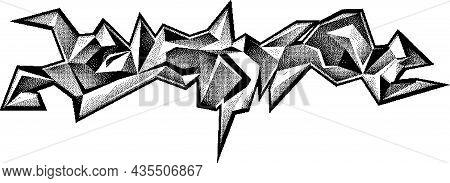 Graffiti Urban Tag. Pointillism Ink Drawing. Stippling Illustration. Black And White Halftone Patter