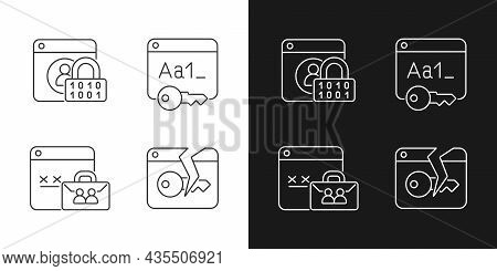 Password Encryption Linear Icons Set For Dark And Light Mode. Internet Safety. Password Management.