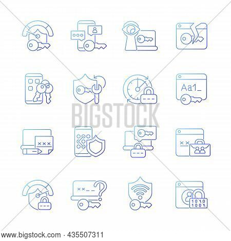 Password Management Gradient Linear Vector Icons Set. Smartphone And Computer Safeguard. Secure Syst