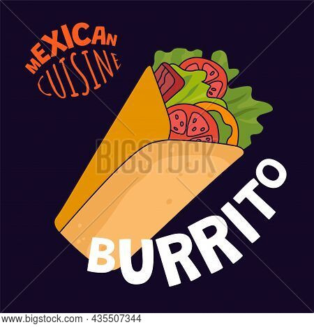 Mexican Burrito Poster. Mexico Fast Food Eatery, Cafe Or Restaurant Advertising Banner. Latin Americ