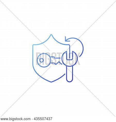 Password Cracking Gradient Linear Vector Icon. Safeguard Protection. Cracker App. Password Managemen
