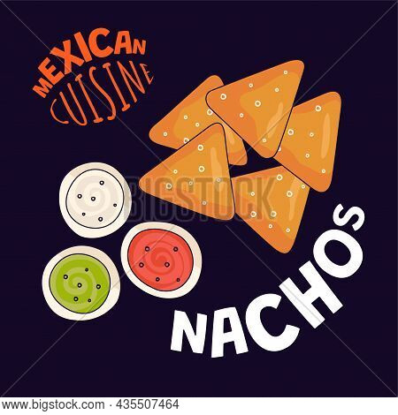Mexican Nachos Poster. Mexico Fast Food Eatery, Cafe Or Restaurant Advertising Banner. Latin America