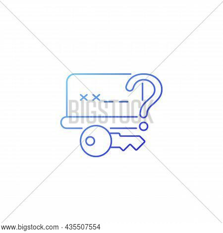 Forgetting Password Gradient Linear Vector Icon. Account Recovery. Online Privacy. Password Manageme