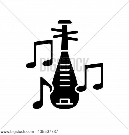 Pipa Instrument Black Glyph Icon. Wooden Musical Device. Four-stringed Plucked Lute. Traditional Ins