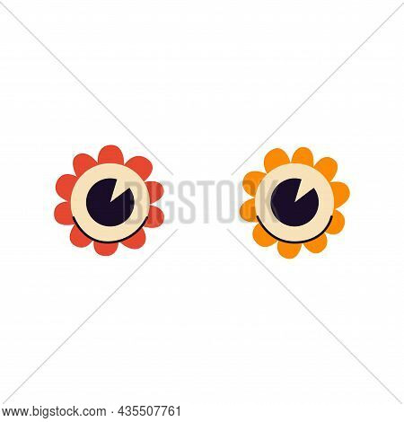 Wide Open Funny Cartoon Eyes Shaped Like Daisies. Look With Surprise And Amazement. Vector Isolated