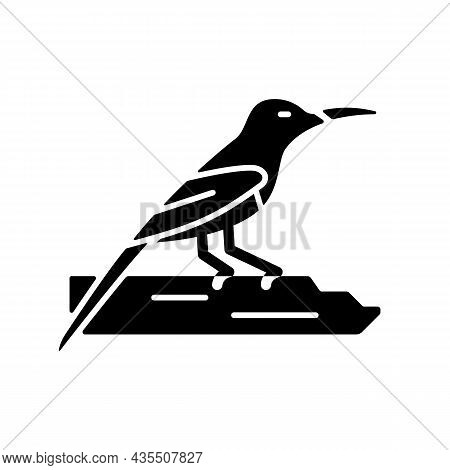 Crimson Sunbird Black Glyph Icon. Tropical Asian Bird. Singapore National Symbol. Resident Breeder.