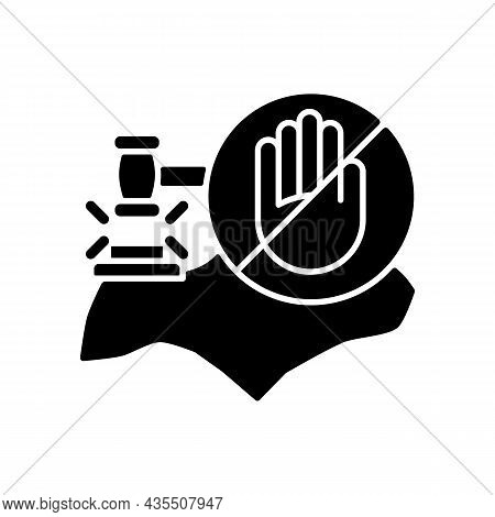 Fines And Prohibitions Black Glyph Icon. Singapore Laws And Regulations. Punishments For Offences. L