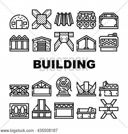 Self-framing Metallic Building Icons Set Vector. House Metal Material Frame Building And Bridge Cons
