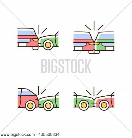 Vehicle Crashes Rgb Color Icons Set. T-bone Collision. Sideswipe Car Accident. Hitting Auto From Beh