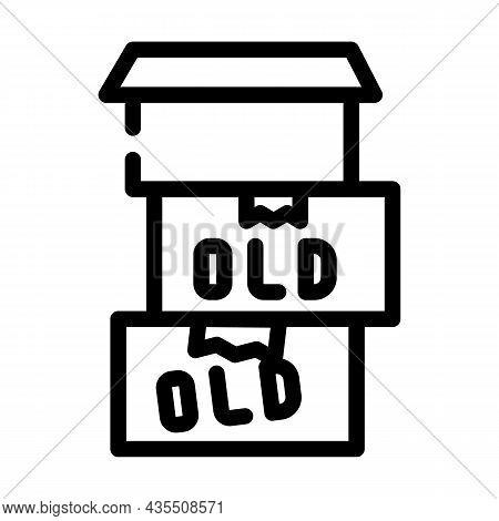 Old Things In Box Line Icon Vector. Old Things In Box Sign. Isolated Contour Symbol Black Illustrati