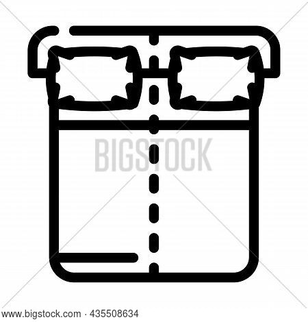 Sleep On Opposite Sides Of Bed Line Icon Vector. Sleep On Opposite Sides Of Bed Sign. Isolated Conto