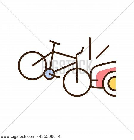 Car Collision With Cyclist Rgb Color Icon. Accident With Bicyclist And Driver. Riding On Public Road