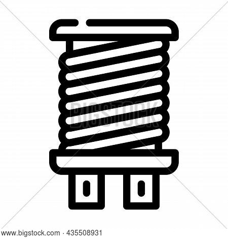 Coil Electromagnetic Line Icon Vector. Coil Electromagnetic Sign. Isolated Contour Symbol Black Illu