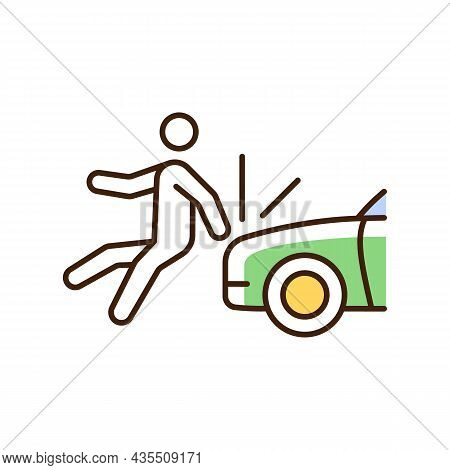 Collision Involving Pedestrian Rgb Color Icon. Roadway Crash. Hitting Walker By Car. Pedestrian Inju