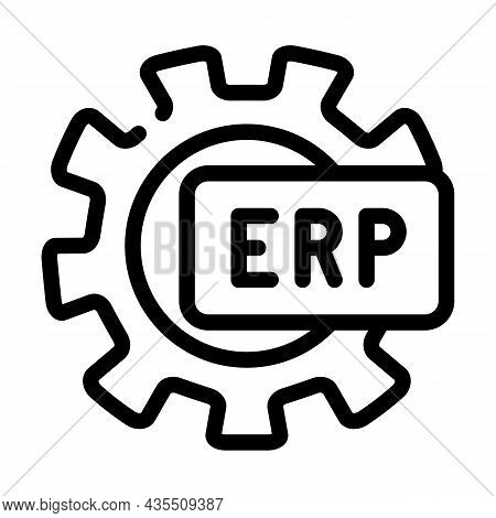 Erp Working Processing Line Icon Vector. Erp Working Processing Sign. Isolated Contour Symbol Black