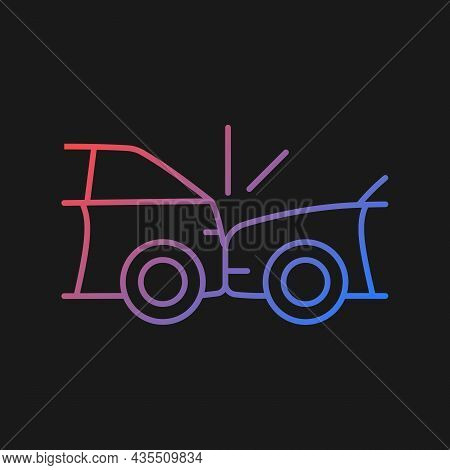 Rear-end Collision Gradient Vector Icon For Dark Theme. Hitting Vehicle From Behind. Accident In Con