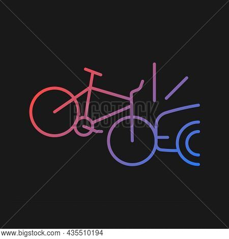 Car Collision With Cyclist Gradient Vector Icon For Dark Theme. Accident With Bicyclist. Car-on-bike