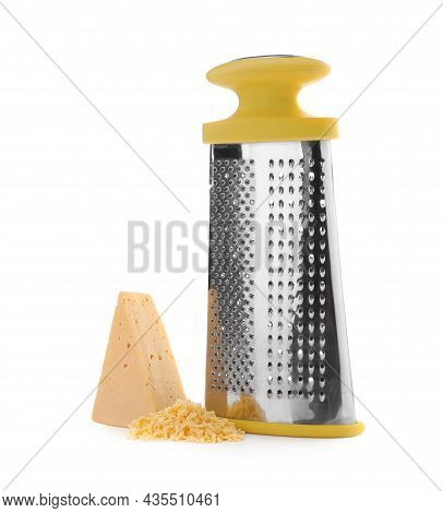 Grater And Delicious Cheese On White Background