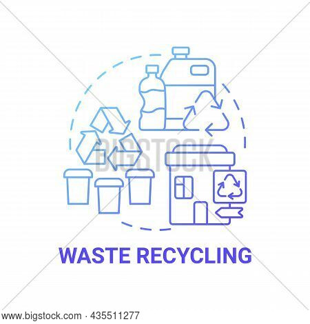 Waste Recycling Blue Gradient Concept Icon. Garbage Management Abstract Idea Thin Line Illustration.