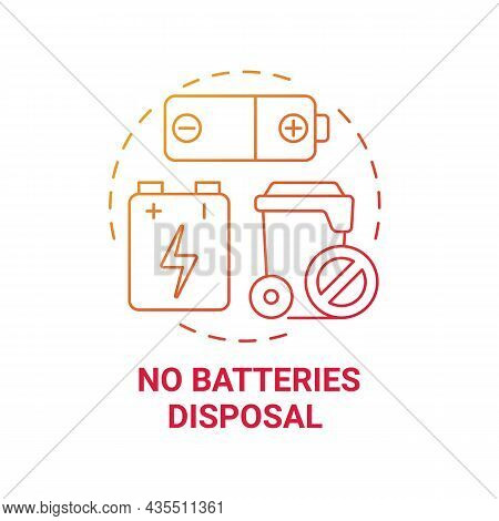No Batteries Disposal Red Gradient Concept Icon. Waste Management Abstract Idea Thin Line Illustrati