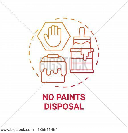 No Paints Disposal Red Gradient Concept Icon. Waste Management Abstract Idea Thin Line Illustration.