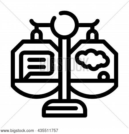 Weighing Opinions Line Icon Vector. Weighing Opinions Sign. Isolated Contour Symbol Black Illustrati