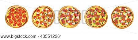 Pizza With Different Delicious Filling Ingredients Set Top View For Pizzeria Menu. Vector Isolated I