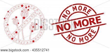 Stop Poppy Plants Star Mesh Network And Grunge No More Seal. Red Seal With Grunge Style And No More