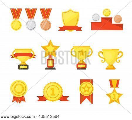 Golden, Silver, Bronze Medals, Cups And Badges Vector Cartoon Set. Winners Trophies Awards Collectio
