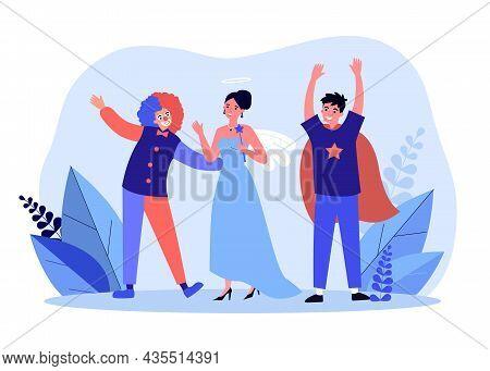 People In Costumes Having Fun Celebrating. Happy Friends, Clown Princess And Magician Having Celebra