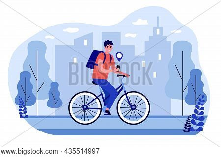 Courier On Bike Delivering Order Using Gps. Man Deliveryman Riding Bicycle Getting Products Tracking