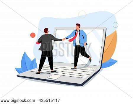 Two Business Partners Shaking Hands On Laptop Computer Screen. Concept Of Online Deal, Smart Contrac