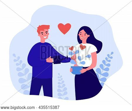 Happy Couple Building Romantic Relationship. Male Character Watering, Growing Heart Flower Flat Vect