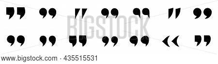 Quotes Icons Set. Black Quotation Marks Isolated On White Background