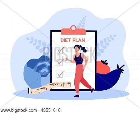 Healthy Activity Of Woman With Diet Plan Checklist On Clipboard. Girl On Jogging Workout Flat Vector