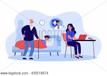 Grandparents Taking Care Of Sick Child Grandson. Woman Contacting Doctor Online On Computer, Consult