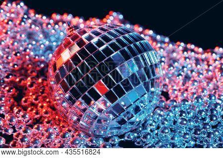 Party Lights Disco Mirror Balls On Black Background