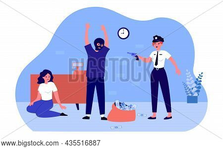 Police Officer Threatening Thief Robbing Bank. Security Catching Arresting Man Criminal In Mask. Org