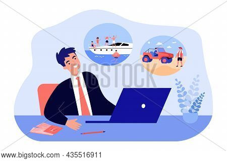 Vacation Dreams Of Businessman Sitting At Laptop. Man Dreaming Of Sea Cruise And Travel Flat Vector